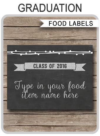graduation place cards template printable graduation food labels place cards