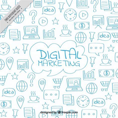 marketing background digital marketing background with blue doodles vector