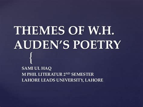 powerpoint themes poetry w h auden s poetry themes