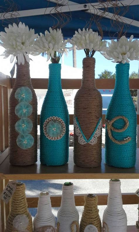 design house decor wedding upcycled wine bottles wrapped in twine and rope