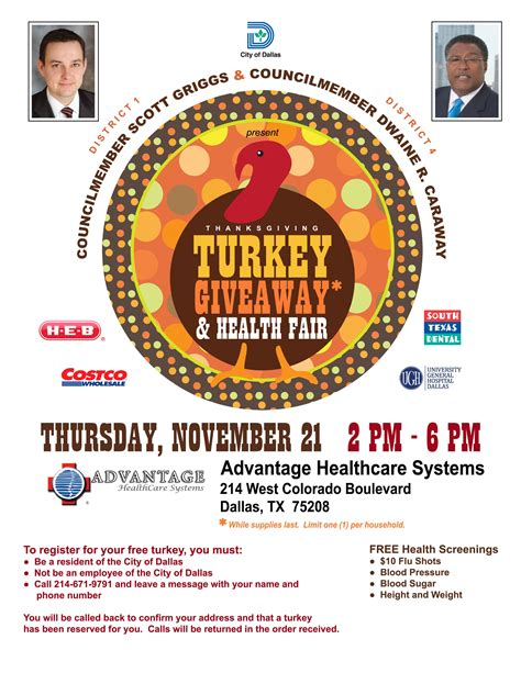 Free Health Fair Giveaways - councilmembers griggs and caraway to present turkey