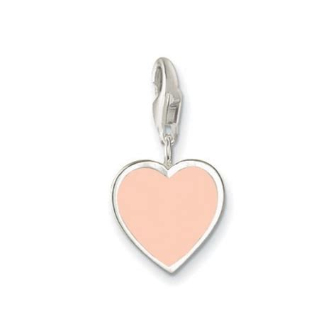 Silver Charm With Pink Enamel P 1179 charm baby pink enamel sterling silver