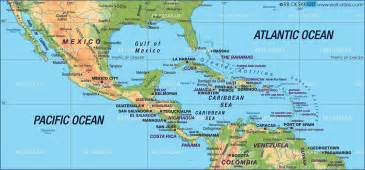 map of the caribbean sea mexico and central america the