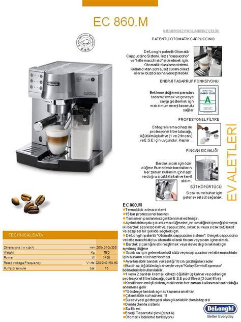 Delonghi Ec860 M delonghi ec860 m otomatik espresso cappuccino makinesi fiyat