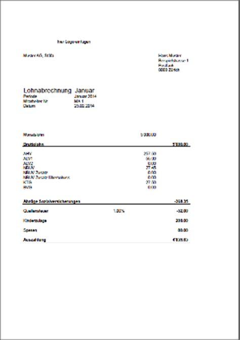 Vorlage Quittung Schweiz Gratis Business Wissen Management Security Lohnabrechnung Schweiz