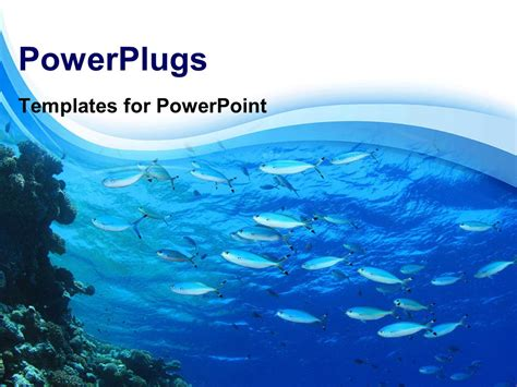 Powerpoint Template Fishes Swimming In Blue Water With Blue Waves In The Background 12373 Microsoft Office Powerpoint Templates Water