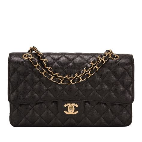 Fashion Black Hardware chanel black quilted caviar medium classic flap bag gold hardware world s best
