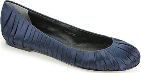 navy satin flat shoes vera wang lavender leona navy satin ballet flat in blue