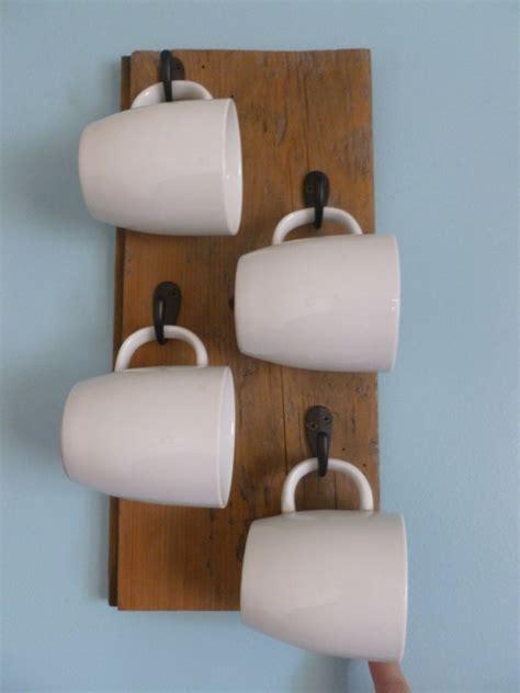 mug hanging rack reclaimed wood mug holder rack with century old barn wood 4