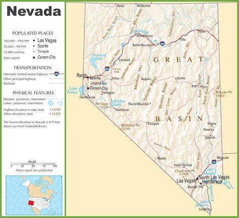 nevada in the map of usa nevada highway map