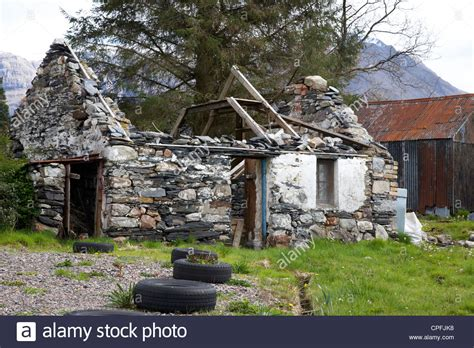 abandoned ruined old scottish cottage in glencoe highlands