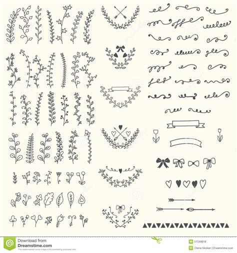 vintage floral design elements vector illustration hand drawn vintage floral elements handsketched vector