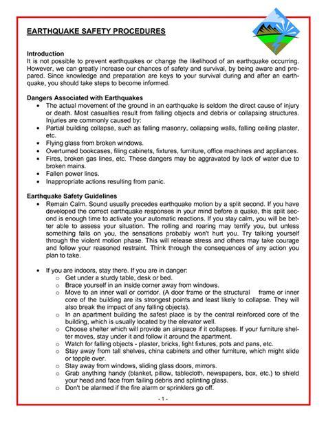 earthquake procedure earthquake drill procedures earthquake safety procedures