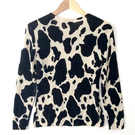 Dem Sweater Moomoo pony print or quot moo i m a cow quot silk sweater the sweater shop