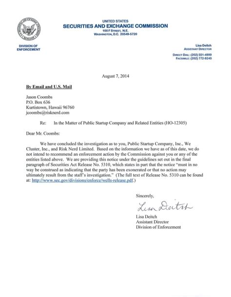Agreement Closure Letter Closing Letter From The Securities And Exchange Commission