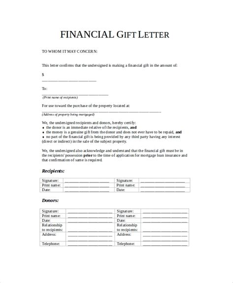 Sle Gift Agreement Letter Gift Letter Form Gift Letter For Mortgage Articleezinedirectory Sle Gift Letter 9 Exles In