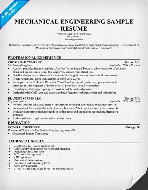 mechanical engineering resume sample resumecompanioncom engineering resume mechanical