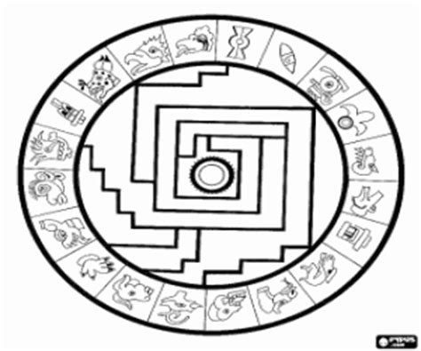 Aztecs Aztec Empire Coloring Pages Printable Games Aztec Calendar Coloring Page