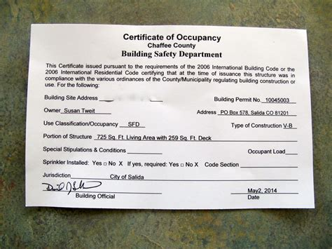 Certificate Of Occupancy   Download Images, Photos and Pictures.