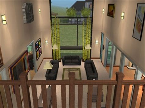 house design living room upstairs mod the sims two story contemporary home