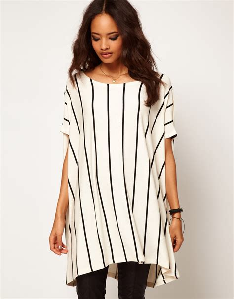 Oversized Tshirt lyst asos collection asos oversized tshirt with vertical