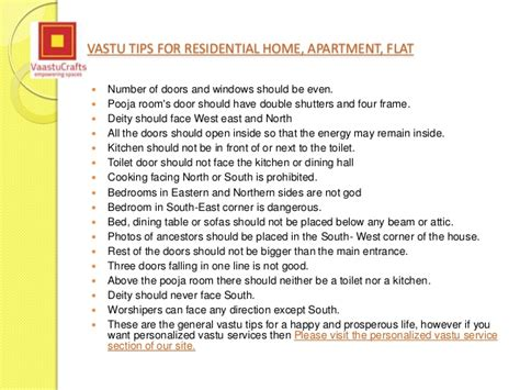 Vastu shastra tips for residential property flat apartment