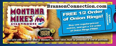 printable restaurant coupons for branson mo montana mike s steakhouse branson address phone
