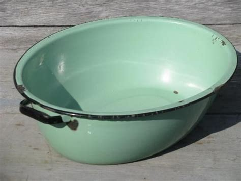washing dishes in bathtub jadite green vintage enamelware big old primitive wash