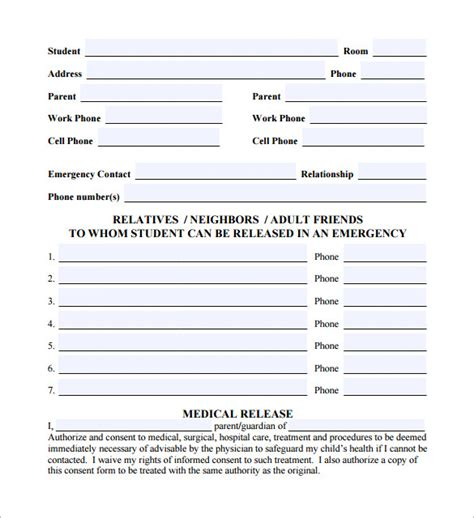 sle emergency release form 12 download free