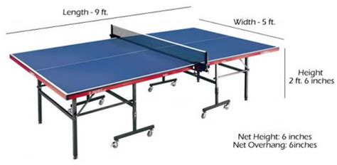 dimensions for tables balls nets room size