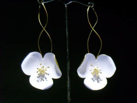 Handmade Gold Earrings - handmade gold plated silver earrings with white enamel