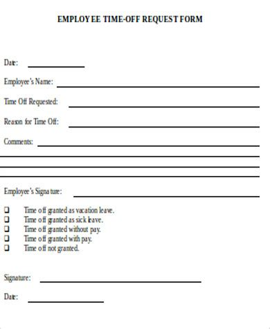 time off request form in pdf best resumes