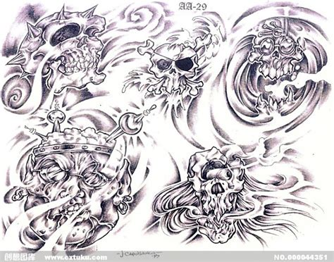 tattoo flash art pdf 骷髅图腾 插画集 设计图 免费素材下载 创想图库 44351 11