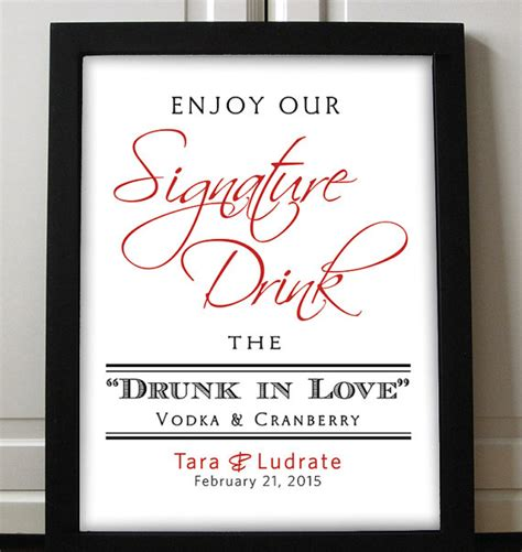 signature drink sign wedding printable red