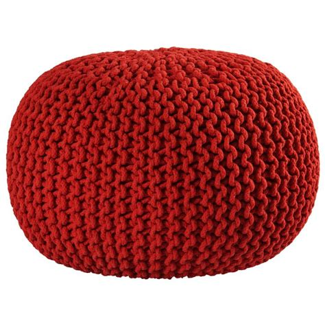 16 Inch Red Cotton Rope Pouf Ottoman