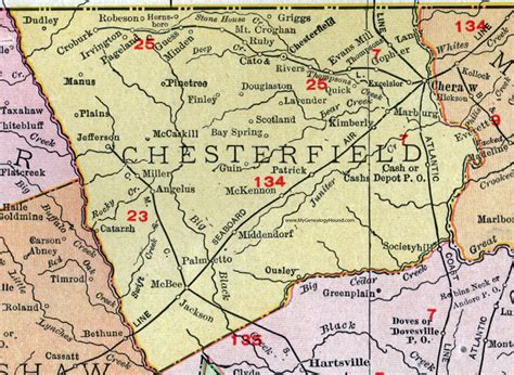 Chesterfield County Sc Records Chesterfield County South Carolina 1911 Map Rand Mcnally Cheraw Pageland Mcbee