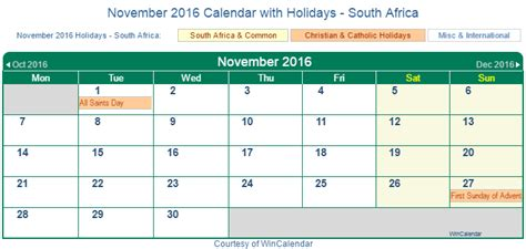printable calendar 2016 with south african holidays print friendly november 2016 south africa calendar for
