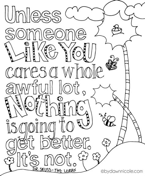 love themed coloring page the lorax printable quotes quotesgram by quotesgram