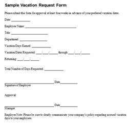 vacation request template 6 employee vacation request form templates free sle