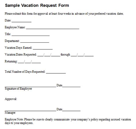 6 employee vacation request form templates free sle