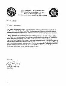Resignation Letter For Chief Mt Juliet Chief Submits Letter Of Resignation Mt Juliet Newsroom