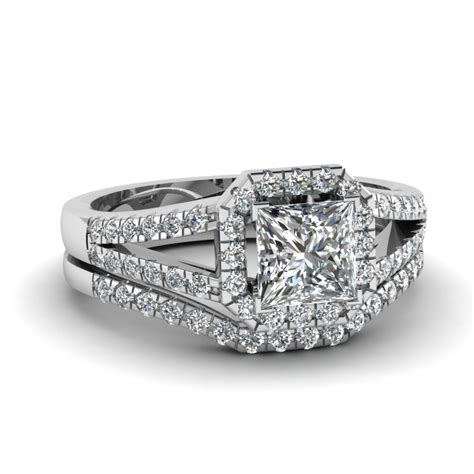 flower halo round cut diamond wedding ring set in white gold