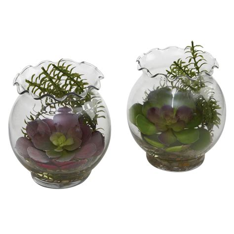 Succulent Vase by 6 Inch Artificial Succulent In Fluted Vase Set Of 2