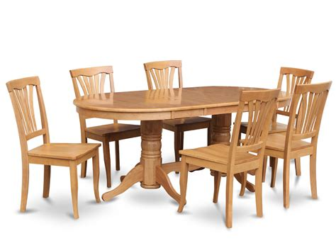 Vancouver Oak Dining Table Vancouver 7 Pieces Dining Room Set Oval Table With Leaf