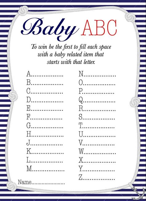 free printables baby shower games ideas nautical baby abc baby shower game free printable