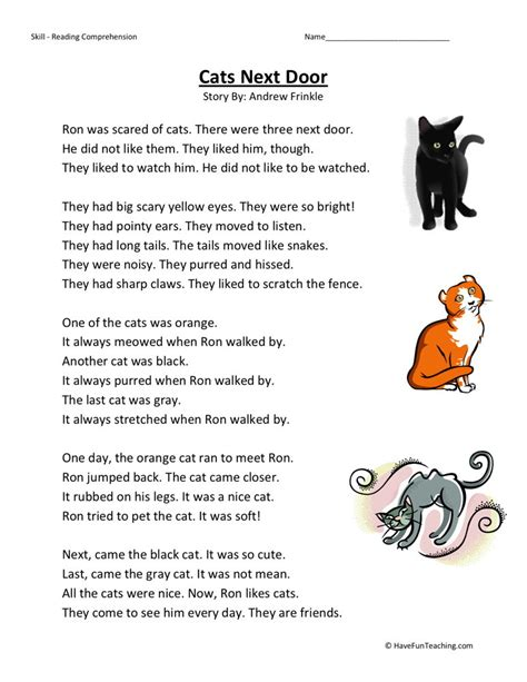 reading comprehension test online for cat reading comprehension worksheet cats next door