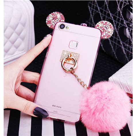Samsung S5 S6 S7 Edge Casing Softcase Touch Flipcover Flip Matte fur pompom key chain ears soft for samsung galaxy s5 s6 s7 s8 edge plus note 3