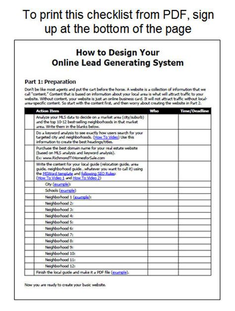 Checklist To Create Your Online Lead Generation System Transaction Coordinator Checklist Template