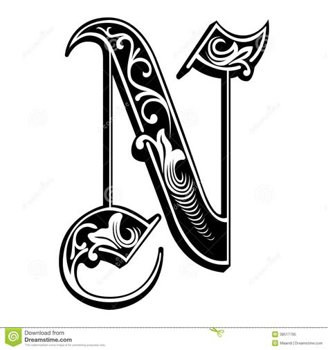 Garnished Gothic style font, letter N   letra n ... H Alphabet In Style