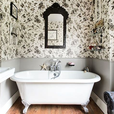 black and white bathroom bathroom design housetohome co uk white bathrooms toile wallpaper and bathroom on pinterest